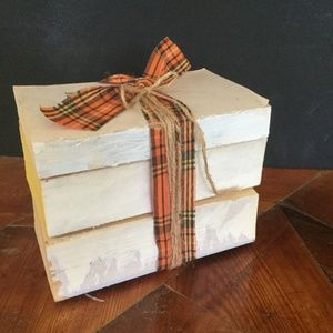 Farmhouse Book Stack Uncovered Distressed Handmade